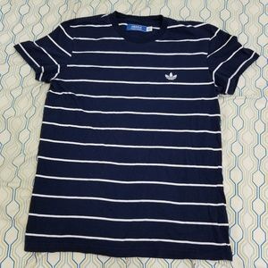 Women's Adidas Trefoil Logo Striped T Shirt Large